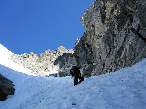 In the couloir above the small bergshrund.