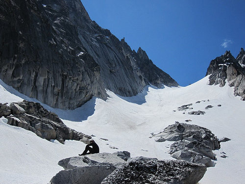 At the end of the moraine before Colchuck Glacier.