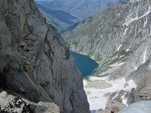 There are some nice rock routes up from the lake as well.  5.8 I believe.