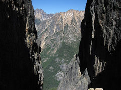 Rock Climbing Photo: Looking out of notch between Liberty Bell and Conc...