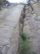 Rock Climbing Photo: This crack was most likely used to set the anchor ...