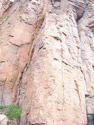Rock Climbing Photo: The crux is between the first and the second bolt,...