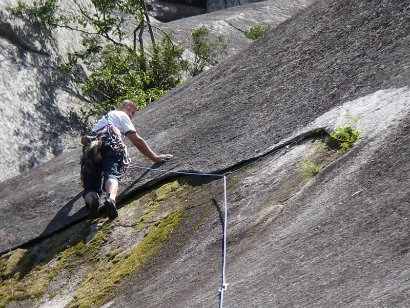 Rock Climbing Photo: Dodging slime on the crux sequence