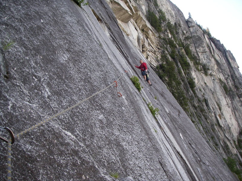 Rock Climbing Photo: Safely across the 3rd pitch traverse