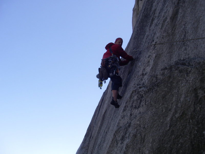 Rock Climbing Photo: Stepping out onto the runnout 5th pitch. Thankfull...