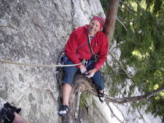 Rock Climbing Photo: Super-cool tree belay at the base of the Split Pil...