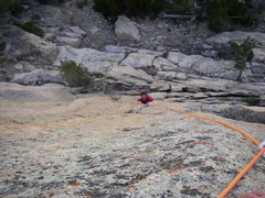 Rock Climbing Photo: Contemplating the very hard 1st pitch crux