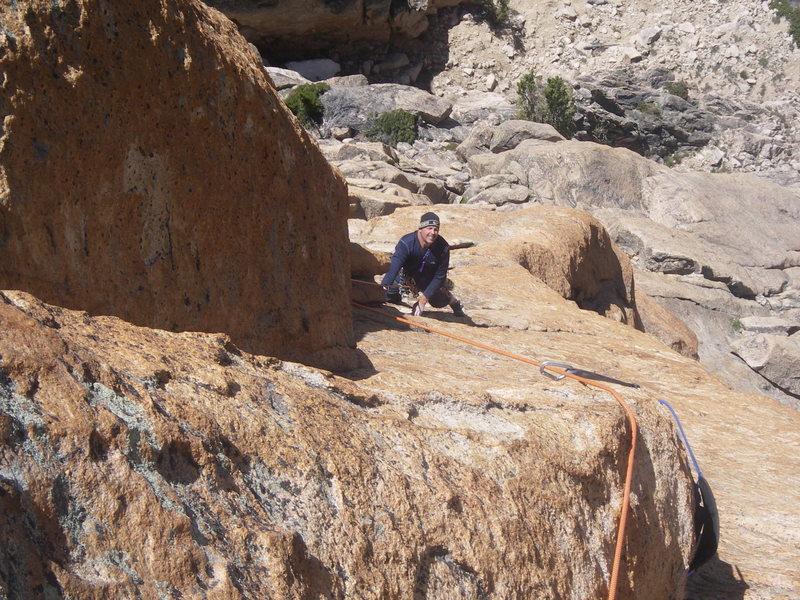 Rock Climbing Photo: Beginning the crux 3rd pitch