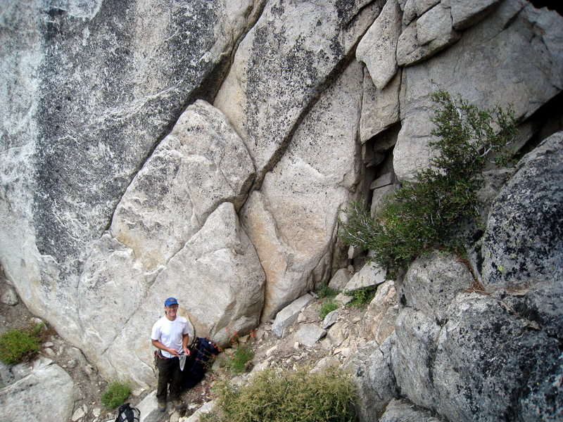 Rock Climbing Photo: Greg standing just left of the start of Land of th...