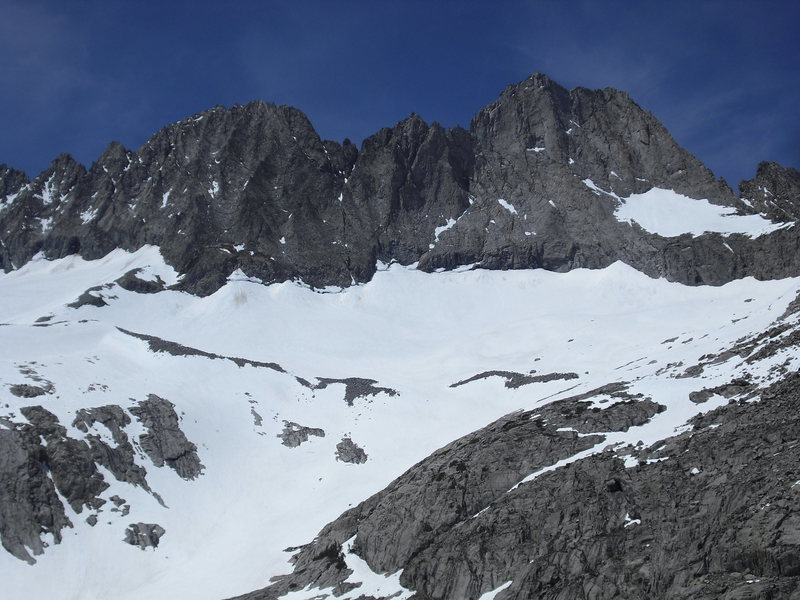 East face of Middle Palisade on left and Norman Clyde Peak on the right.