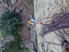 Rock Climbing Photo: Looking down the 1st pitch, Brad White climbing. T...