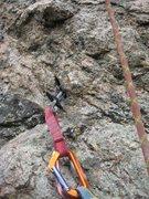 Rock Climbing Photo: unique pro placement at end of P2