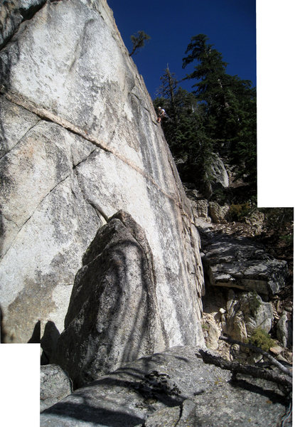 photo-stitched image of Arctic Temple and Greg rapping back down.