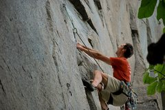 Rock Climbing Photo: Phil Hoffmann on route.  Photo by Adam Johnson.