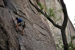 Rock Climbing Photo: Enjoying the 5.8 finish to P1 of Safari Jive.  Pho...