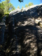 Rock Climbing Photo: Dog-legging on the left with the gear in it and Fe...