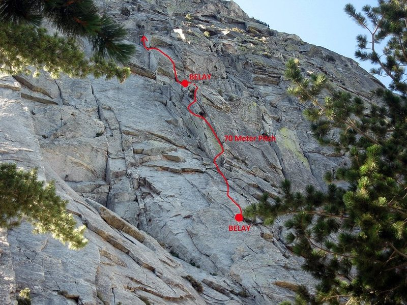 I think this  2 pitch route rocks, but it needs more traffic.  Don't be afraid of it, the pro is more than adequate.  The locks are bomber, and the climbing is thoughtful.  Go do it so it will clean up and then I will enjoy it even more!!!