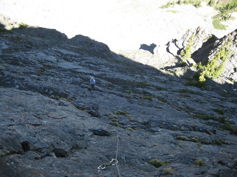 Rock Climbing Photo: Looking down pitch 6.