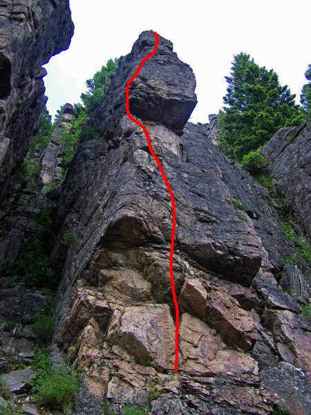 Rock Climbing Photo: The line seen from below with the upper 1/2 foresh...
