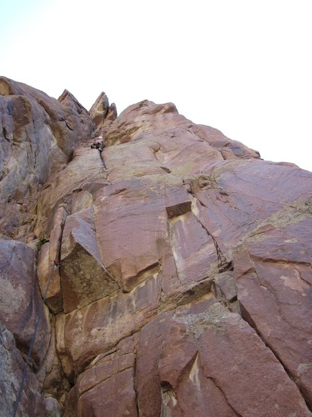 Rock Climbing Photo: Another view of P1, Mike is about 10ft from the an...