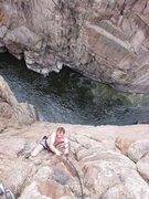 Rock Climbing Photo: Following the final overhang at the top of Pale Fa...