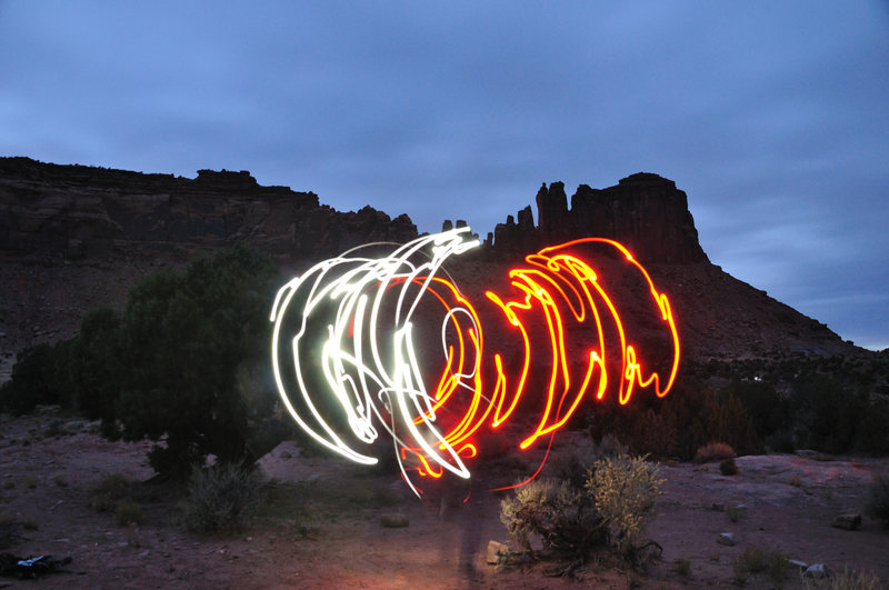 Rock Climbing Photo: Slackline fun... 30 sec exposure with 2 headlamps.