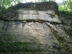 Rock Climbing Photo: Collins Wall, Pictured Rocks, Iowa. 1 - Left Side ...