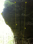 Rock Climbing Photo: Comic Gallery (West Face), Pictured Rocks, Iowa. 1...