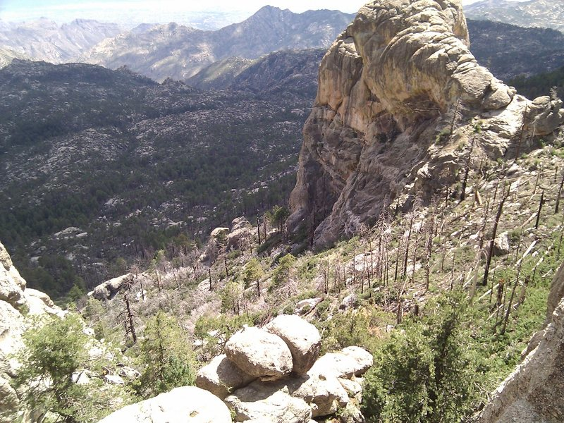The Fortress, as seen from the top of a route at Murray Wall.  Wilderness of Rocks in shadow;  front range beyond that.