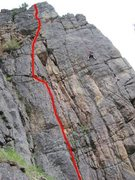 Rock Climbing Photo: The route.  Ty is toproping Bozeman Beautiful to t...