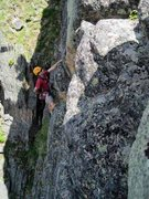 Rock Climbing Photo: Pulling onto the upper headwall on the FA.