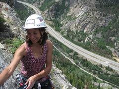 Rock Climbing Photo: Julie way up on Mt Royal