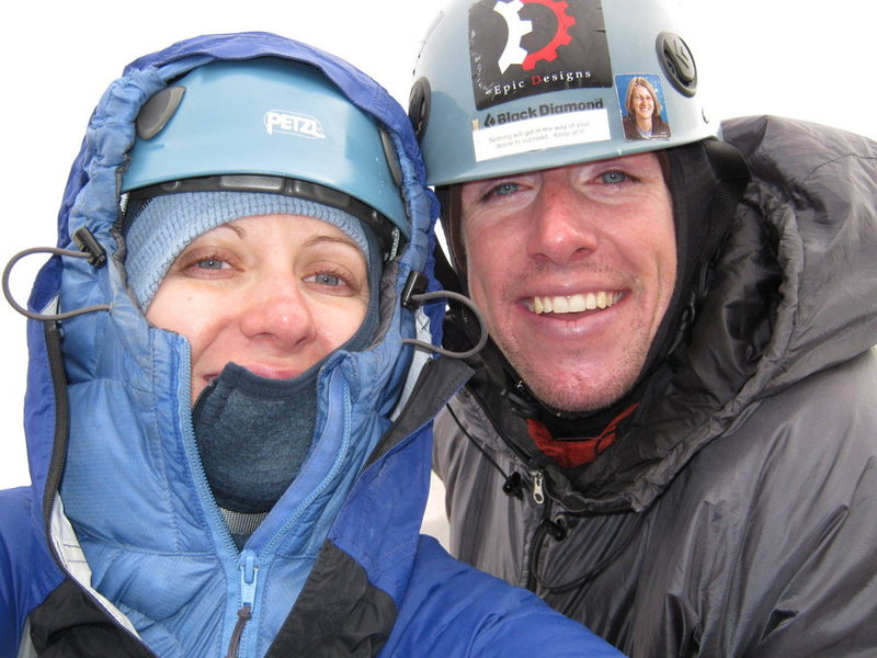 Marni and I at a belay on the Cables Route on Long's Peak. Yes we're in a cloud.