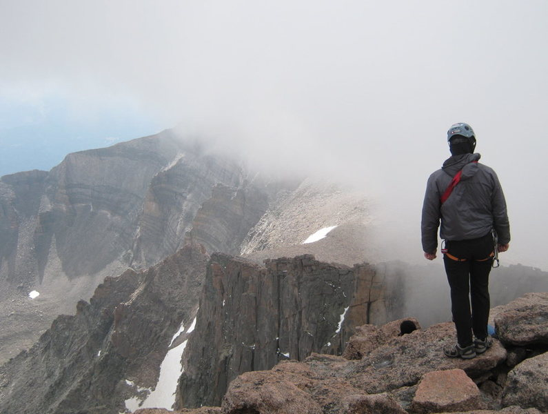 Looking out over the Chasm cirque from the summit of Longs Peak.