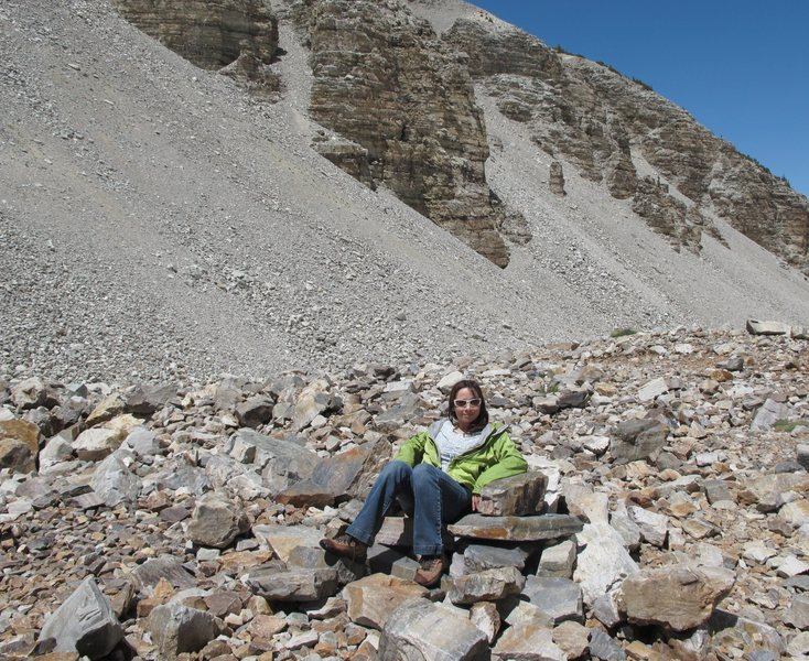 &quot;Where's Fred Flintstone, and Barney Rubble?&quot;<br> Relaxing in a rock recliner after playing in the snow, and on the only glacier in Nevada-<br> Below Wheeler Peak- in Great Basin NP.<br> <br> (Taken July, 2010 by Jonny)