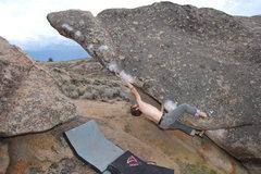 Rock Climbing Photo: Jables cruxing. Photo: L. Bowlin.