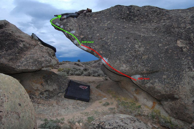 Rock Climbing Photo: Red line into the green line. Photo: L. Bowlin.