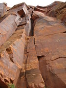 Rock Climbing Photo: The route goes up the right side of the block in t...