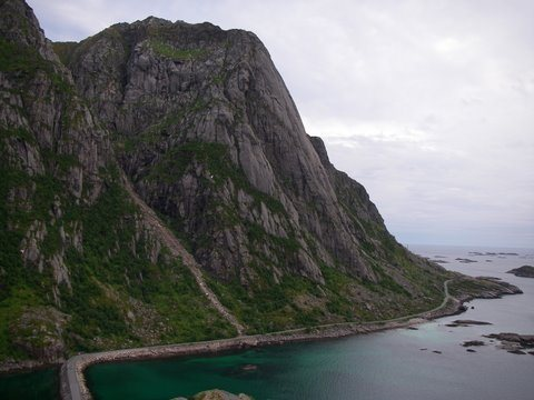 Rock Climbing Photo: Presten above the coastal road to Henningsvaer.