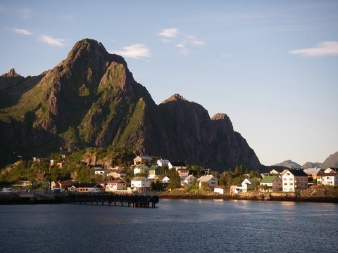 Arriving by ferry to the Lofoten Islands, approaching the town of Svolvaer.