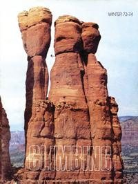 Thompson's Ladder ascends the shaded area  on the upper  first spire. The route was completed in 1988  and named after John Jim Thompson who was  the first settler in Oak Creek Canyon, AZ.  Most rock formation  in Sedona  were named by Thompson in the early 1900.