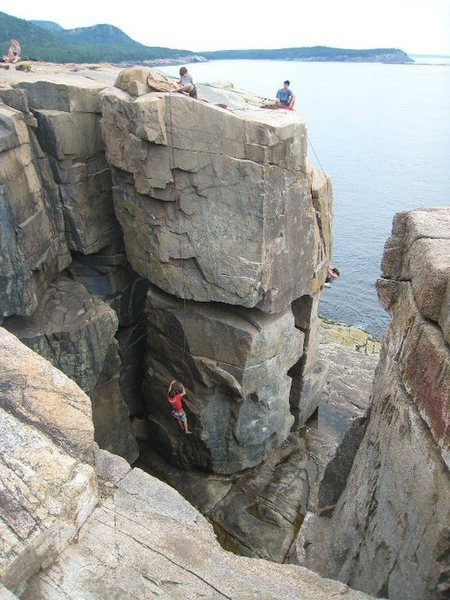 The Sea Stack viewed from above. Climbing Gallery on the left and Rock Lobster on the right.