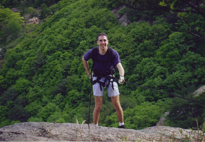 Rock Climbing Photo: 200 ft rappel in South Korea