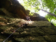 Rock Climbing Photo: first route on lead for my buddy