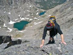 Rock Climbing Photo: Karla on Thatchtop-Powell Ridge with sky pond belo...