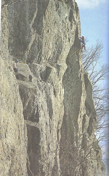 Climbers on pitch 2 of the Girdle. (P3 of Rigor Mortis)