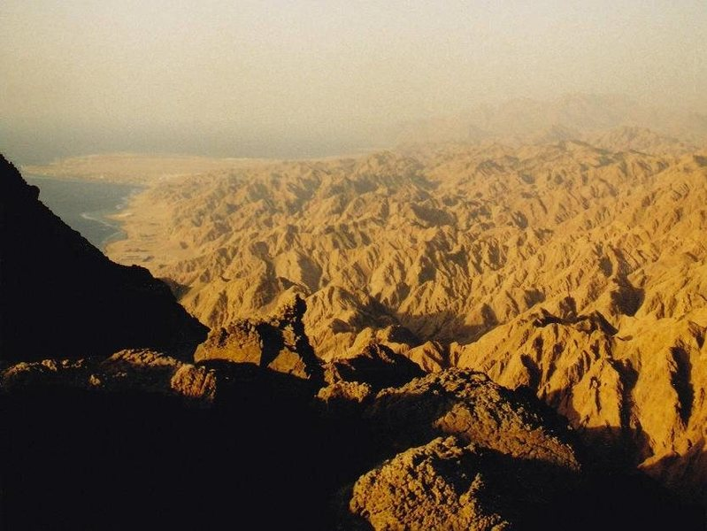One of my solo treks into the mountainous interior of the Sinai from Dahab. April 2000.