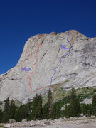 Rock Climbing Photo: Seams thin is the right hand route (blue) on this ...