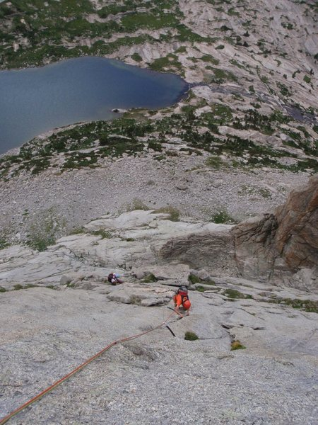 Seconding the 3rd pitch of Pitch Off, Haystack mountain