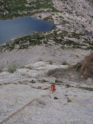 Rock Climbing Photo: Seconding the 3rd pitch of Pitch Off, Haystack mou...